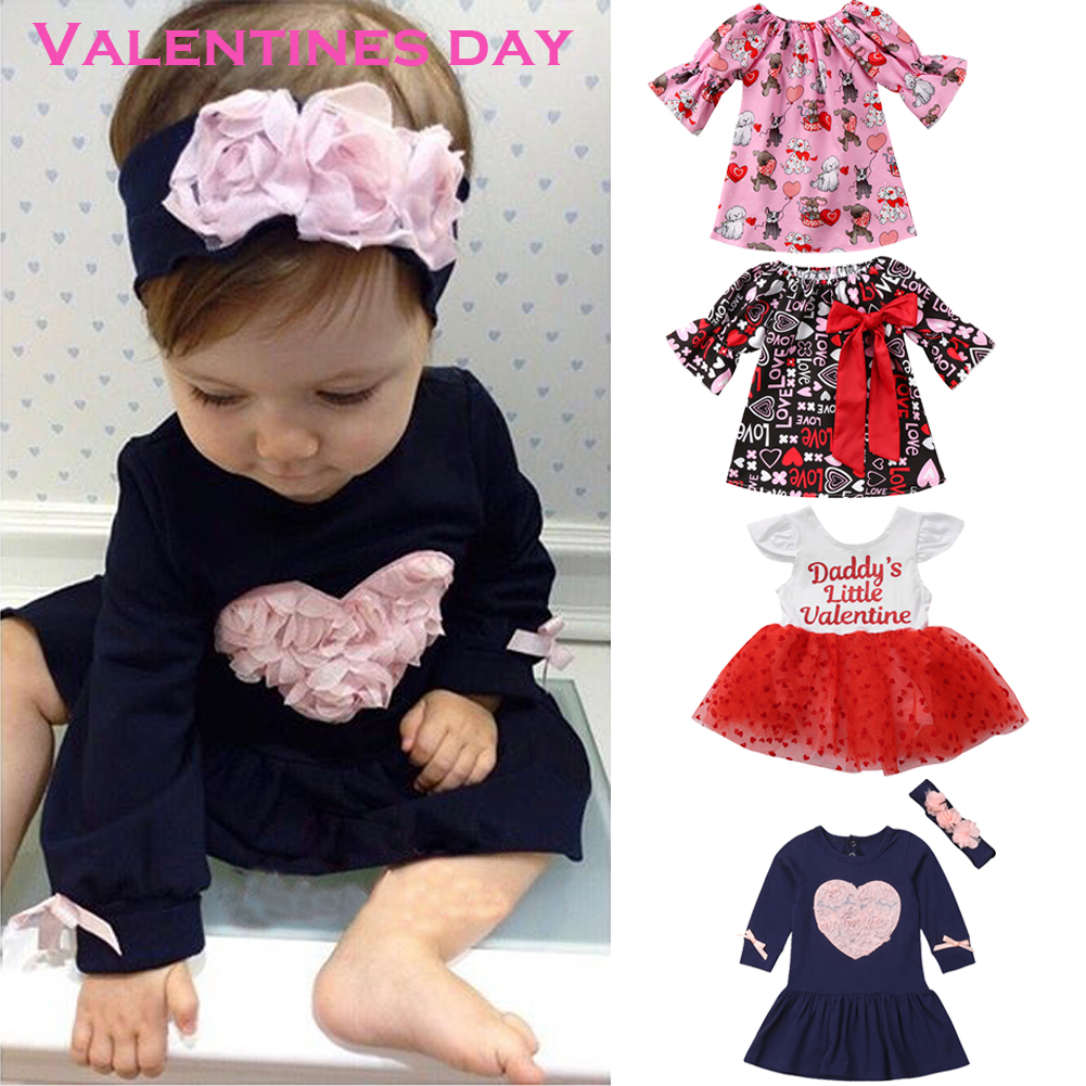 Baby Girls Valentine/'s Day Love Dress Kids Princess Party Tulle Dresses Clothes