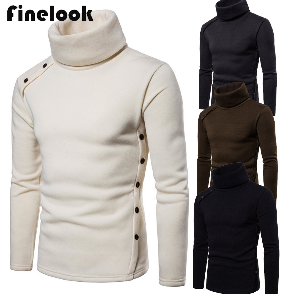 Us Mens High Collar Sweater Turtleneck Long Sleeve Stretch Jumper