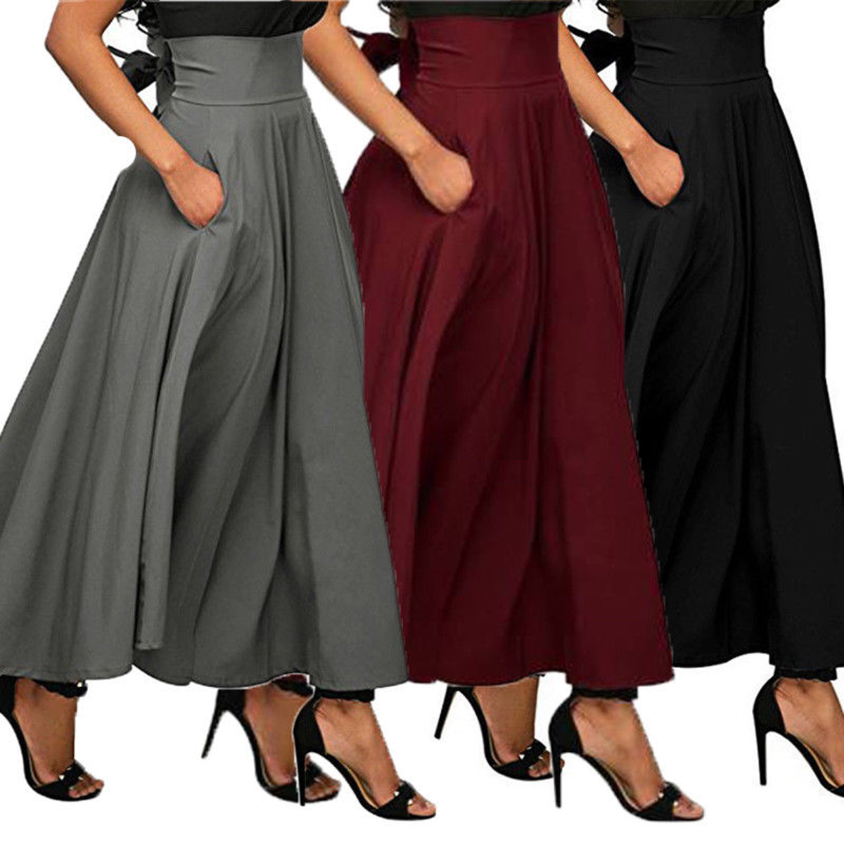 38337c682 Details about USA High Waist Pleated Long Skirts Women Flared Full Maxi  Skirt Swing Dress