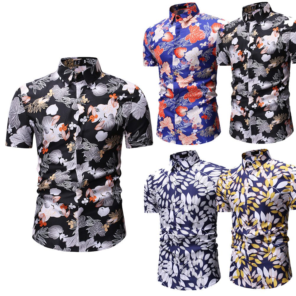 Us Designer Mens Fashion Slim Fit Floral Dress Shirt Casual Short