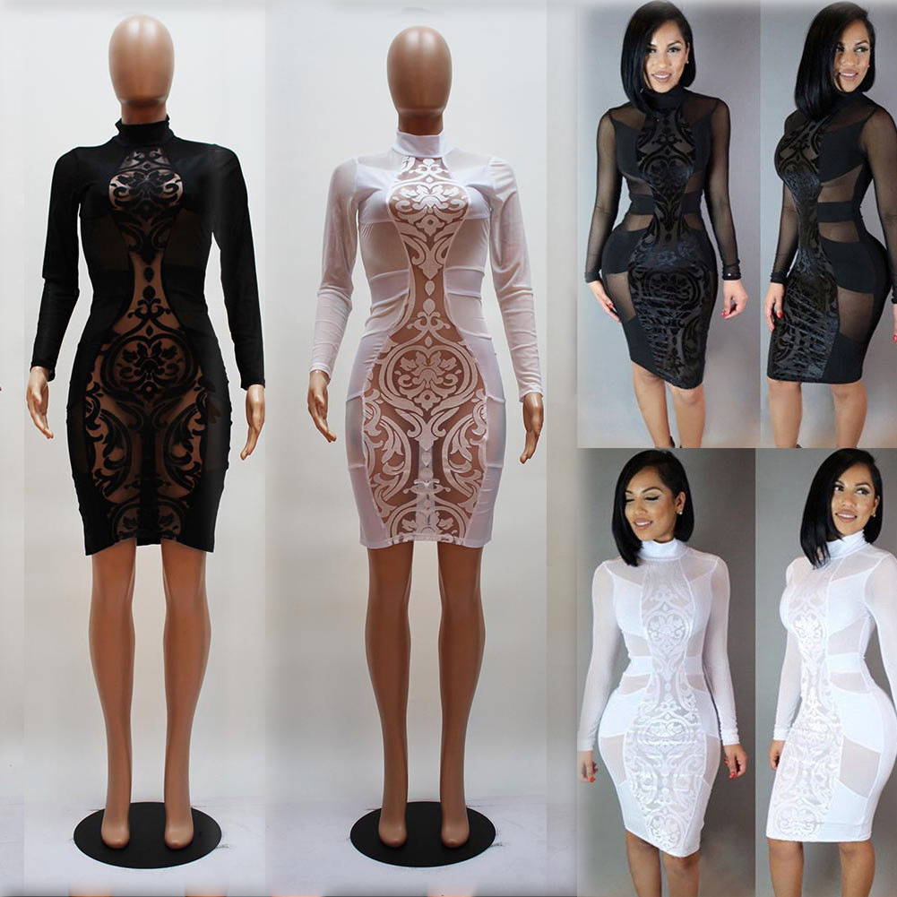 Details About Women Las Y Casual Bodycon Long Sleeve Evening Party Club Dresses Black