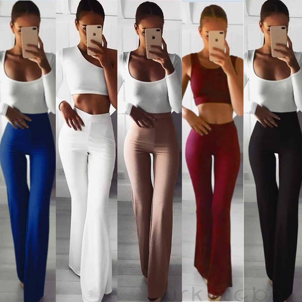 extremely unique best price outlet store Details about US Women Solid High Waist Flare Wide Leg Chic Trousers Bell  Bottom Yoga Pants