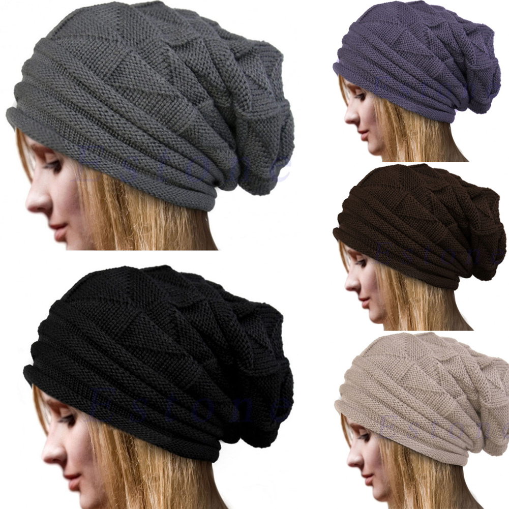 Details about Newest Women Knit Oversize Baggy Slouchy Beanie Warm Winter  Hat Ski Chic Cap 32b06391df16