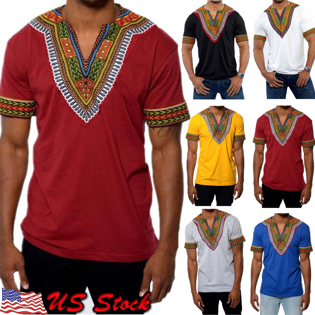 Details about African Tribal Shirt Men Dashiki Print Succinct Hippie Top  Blouse Clothing USA 8ebd3a1b177
