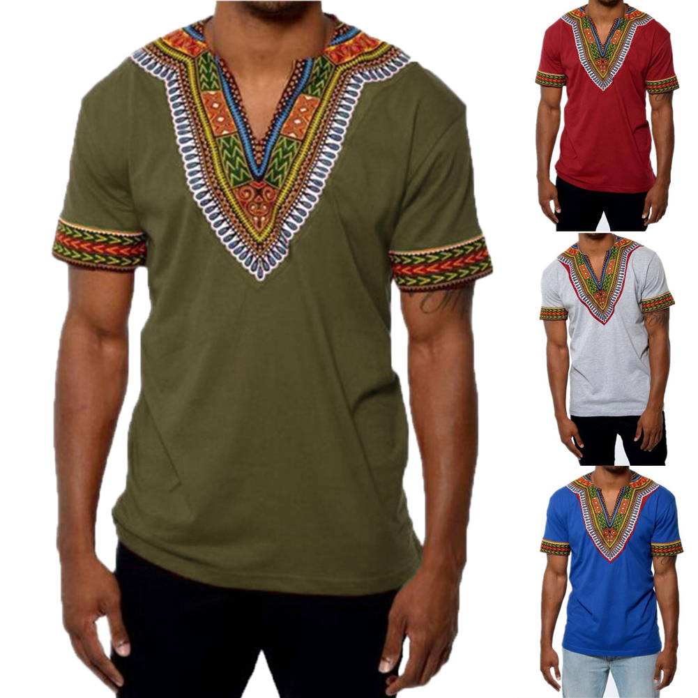 b1734af0dcbb Details about Fashion Mens Dashiki Printed African Long Sleeve Tops Tribal Hippie  T-shirt Tops
