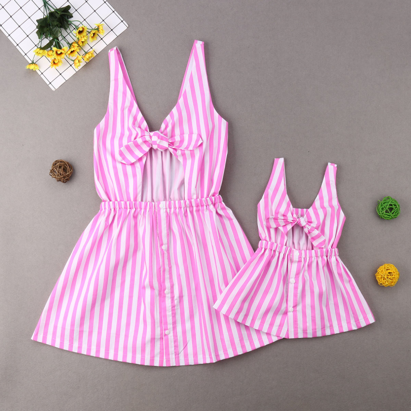 Details About Usa Family Matching Outfits Clothes Mother Daughter Baby Girl Stripe Party Dress