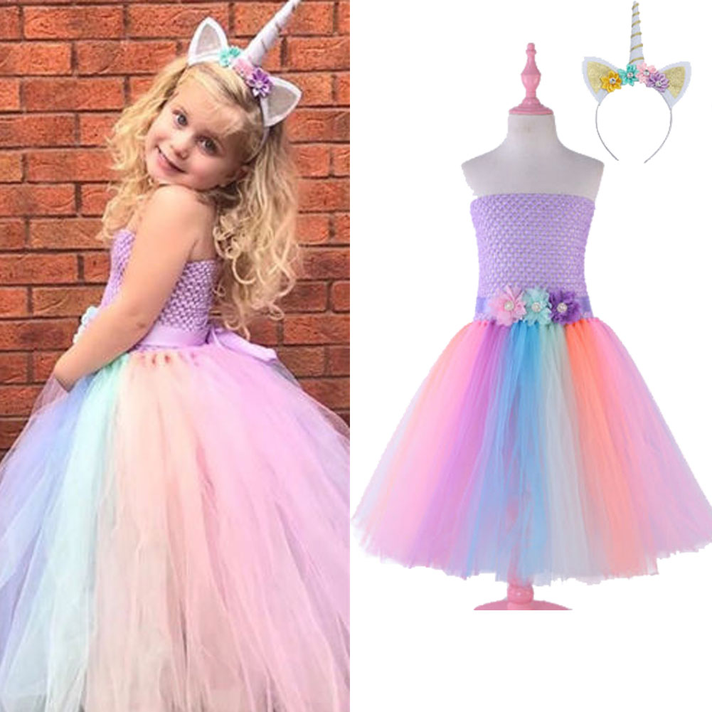 Details about Toddler Girls Unicorn Tube Top Dress Princess Costumes Kids  Birthday Party Dress