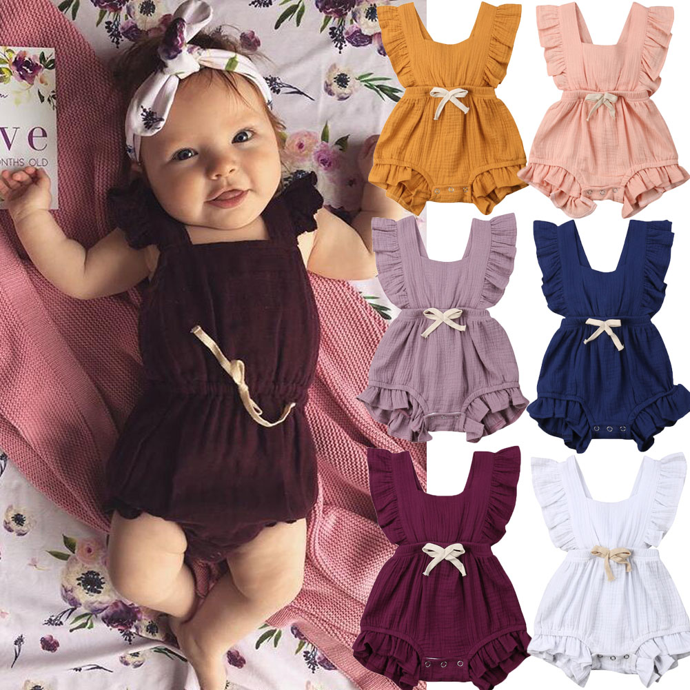 bf8cb5803ec Details about Newborn Baby Girl Ruffle Romper Sleeveless Jumpsuit Cotton  Summer Outfit Clothes