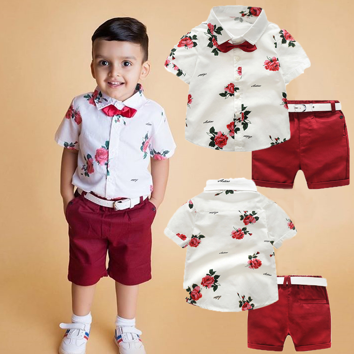 84f540720 Details about 3Pcs Baby Clothes Kids Boys Wedding Party Suit Top+Pants Belt Tuxedo  Outfits Set