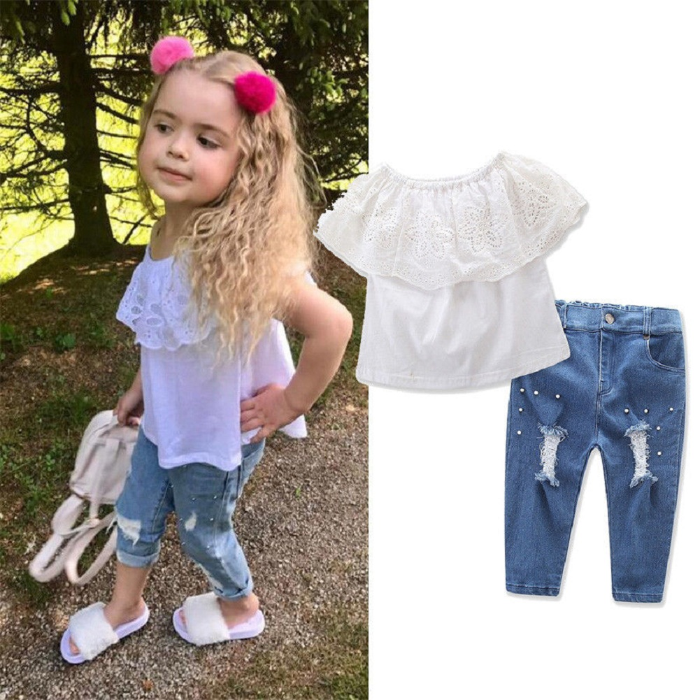 e5fed25701ef US Toddler Baby Girl Ruffle Costume Top Ripped Pearl Jeans Pants ...