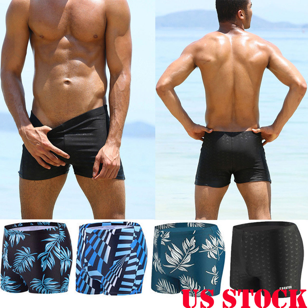 1ee5ca16358a8 Details about US Men s Boxer Briefs Swimming Swim Shorts Trunks Swimwear  Underwear Pants
