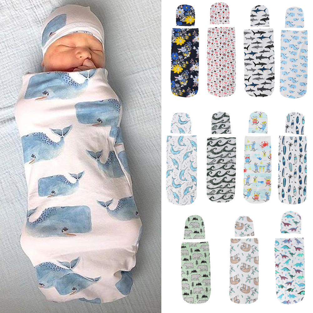 Details about US 2PCS Newborn Baby Girl Boy Swaddle Wrap Blanket Sleeping  Bag+Hat Outfits Set c7e22db0e8dc