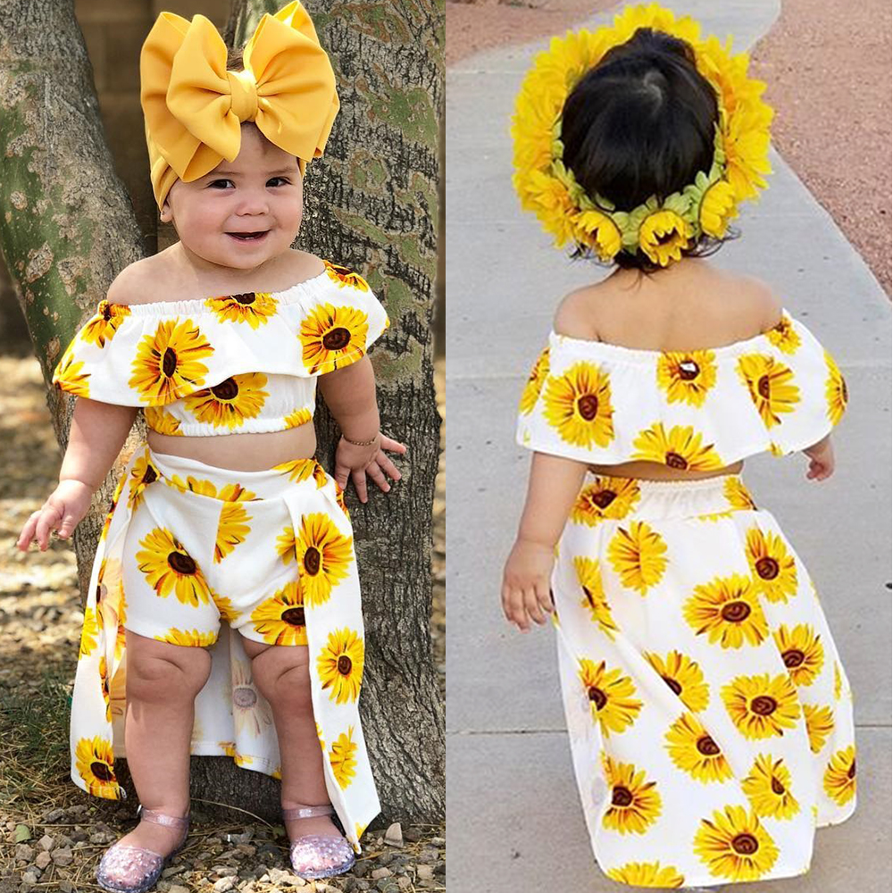f47db686e Details about USA Summer Kids Baby Girl Sunflower Crop Tops Shorts Dress  3PCS Outfits Sunsuit