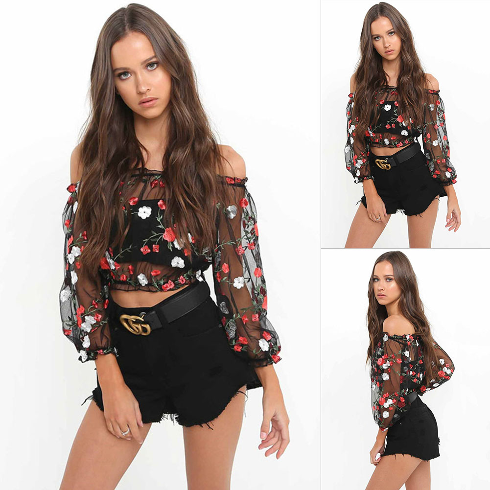 0e45170e58dd9 Details about UK Sexy Women Off Shoulder Long Sleeve Sheer Tops T-Shirt  Casual Loose Crop Tops