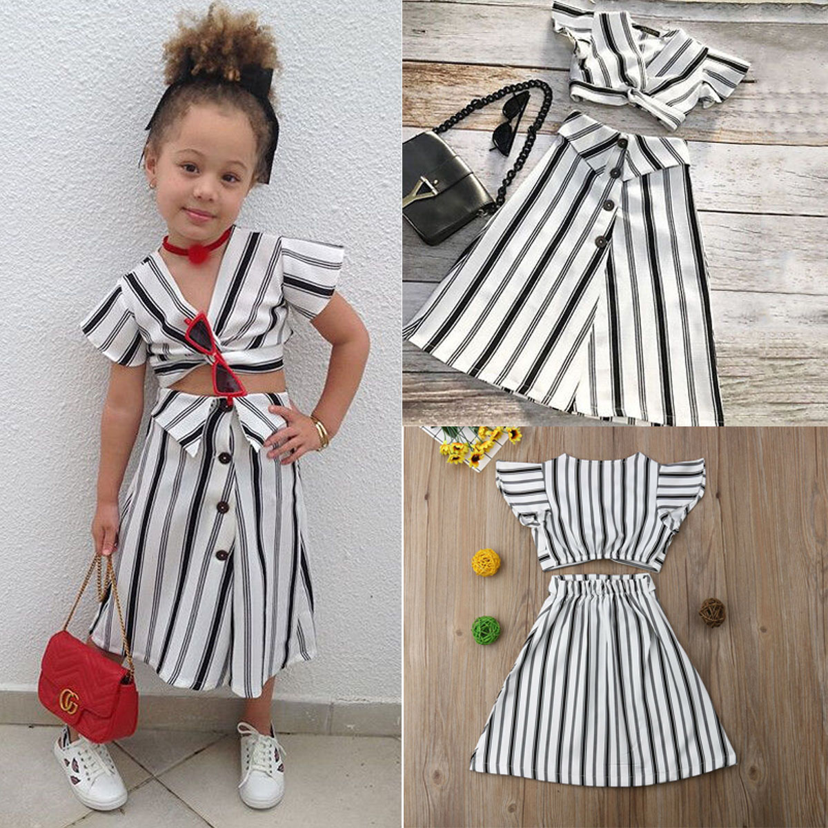 8f7c1eedf7 Details about US Toddler Baby Girl Crop Tops T-shirt+Skirt Outfit Clothes  Kid Party Dress