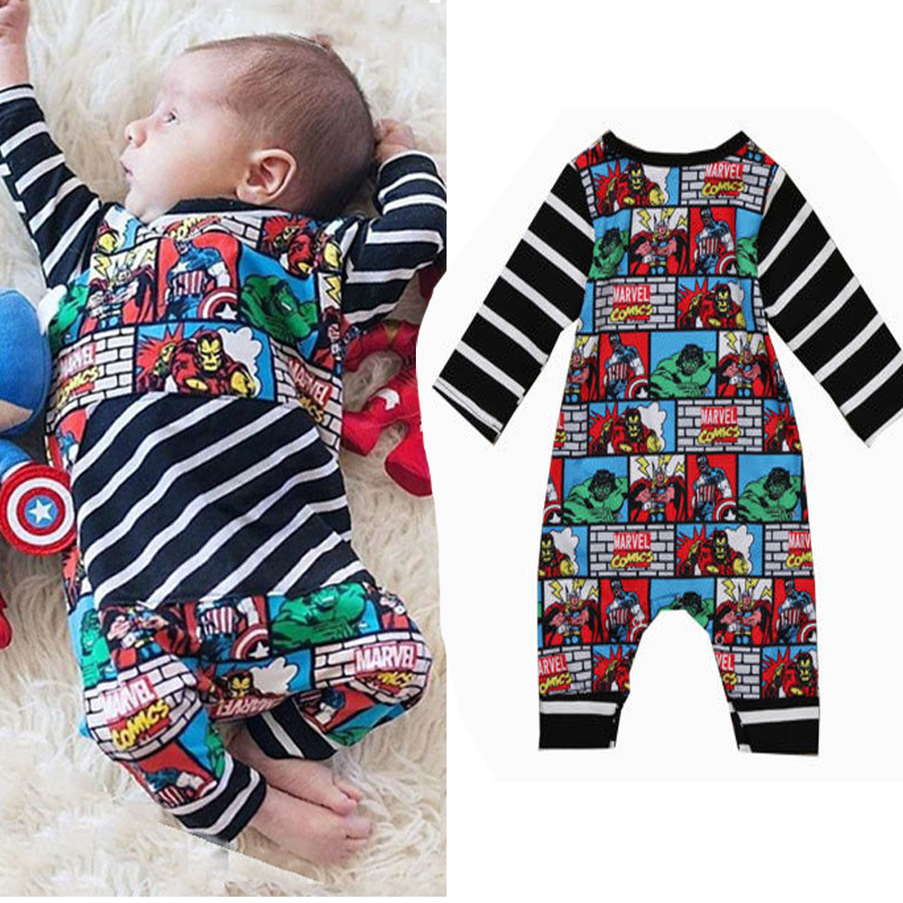 a01e89028b40 Infant Newborn Baby Kid Boy Outfit Clothes Superhero Romper Jumpsuit ...