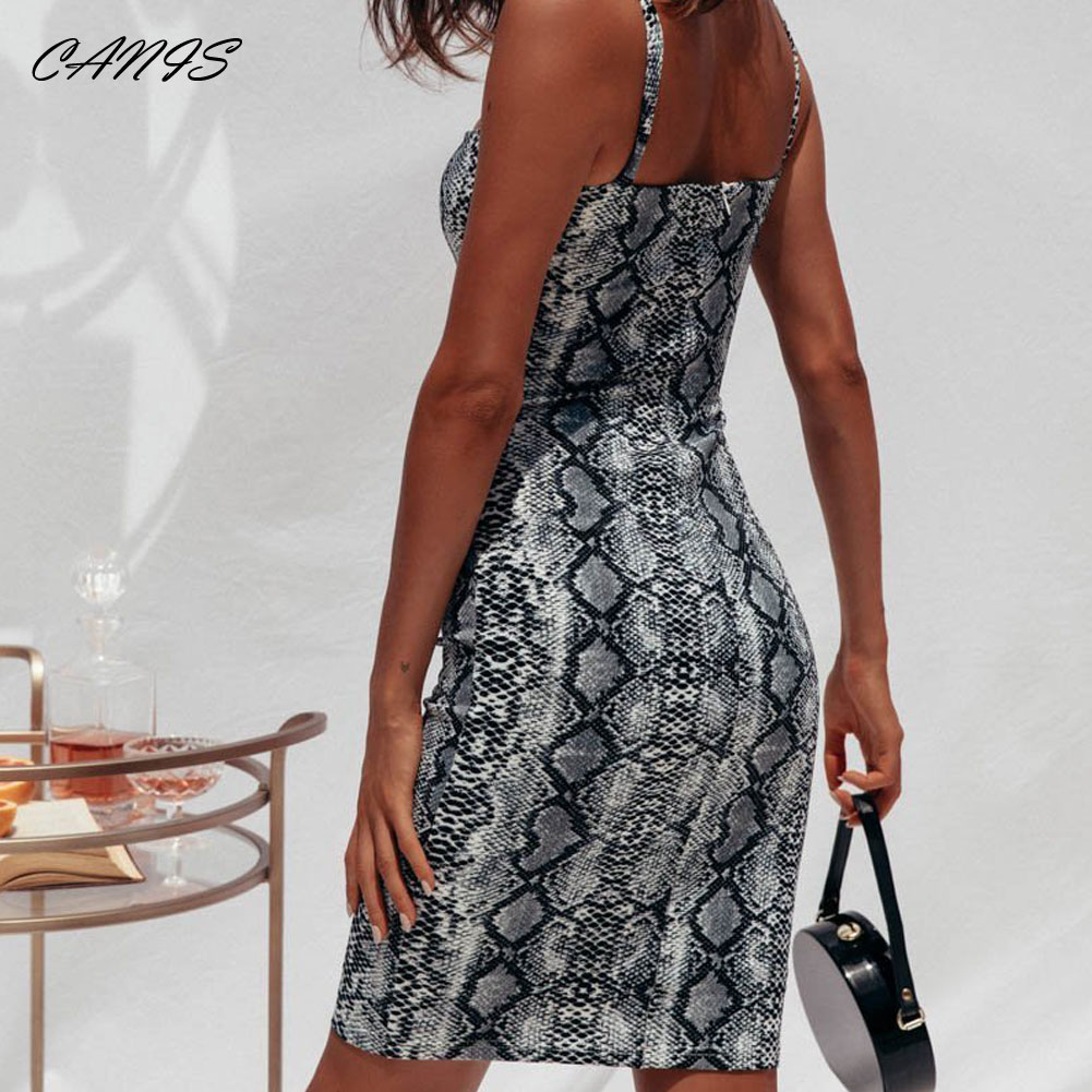 Women's Clothing Sexy Womens Strappy Snake Print Stretch Bodycon Mini Dress Evening Party Summer Slip Fit Dresses