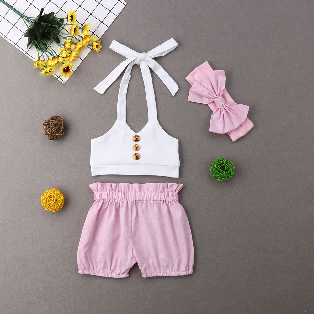 06d115e49f25 Details about Baby Girl Kids Summer Toddler Outfits Clothes Crop Tops +  Shorts Pants 3PCS Sets