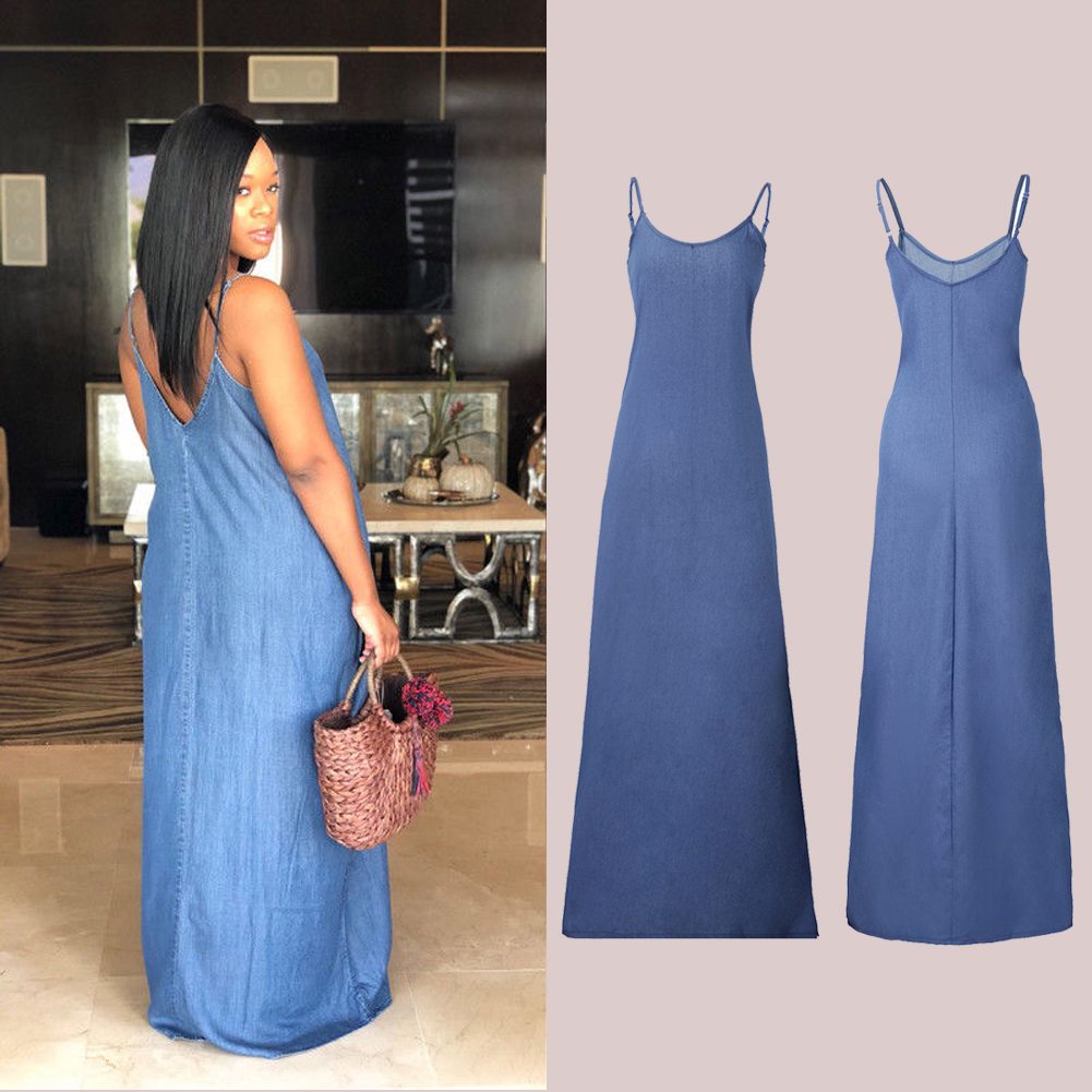 8325dbefda4 Details about UK Womens Backless Boho Long Denim Maxi Dresses Loose Dress  Beach Wear Plus Size