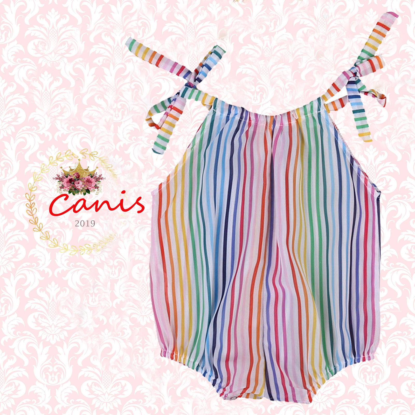 837072be54b24 Details about US STOCK Toddler Baby Girls Rainbow Striped Romper Jumpsuit  Bodysuit Outfits Set
