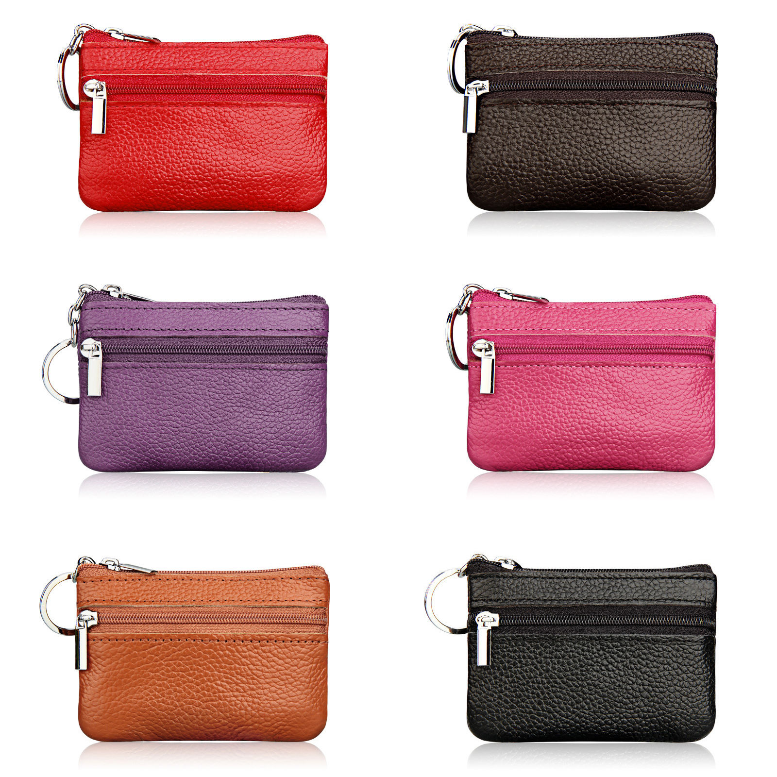 78e0572c7bb0c Details about Women Leather Coin Card Key Ring Wallet Pouch Mini Purse  Zipper Small Change Bag