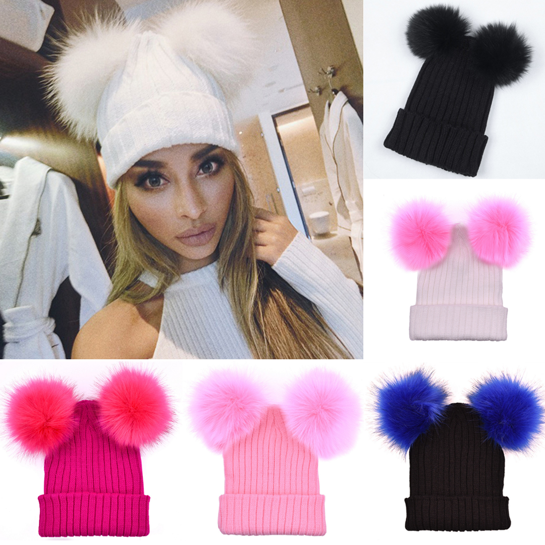 Details about Women Cute Beanie Winter Warm Caps Double Fur Ball Knitted  Crochet Ski Hats Soft 3621f15d89a