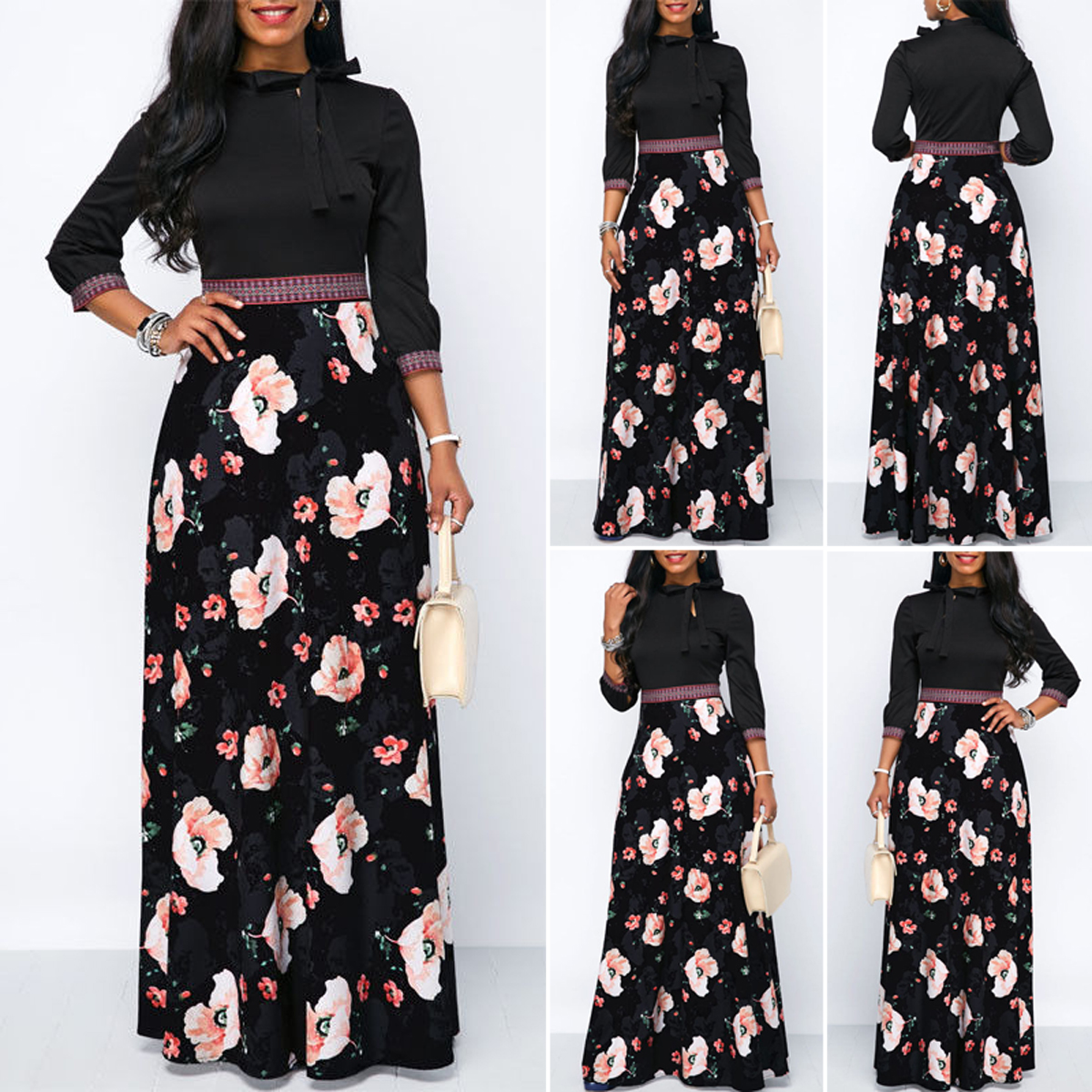 8a56c7017fd5 Floral Chiffon Maxi Dress Long Sleeve