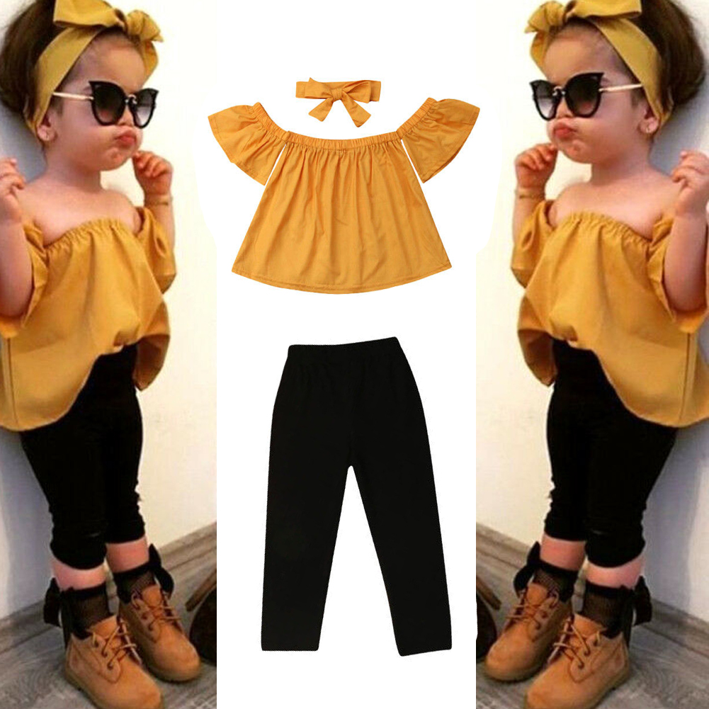 f8e819a8f63 Details about 2019 Cute Toddler Kids Baby Girl Flower Top Dress Pants  Leggings Outfits Clothes