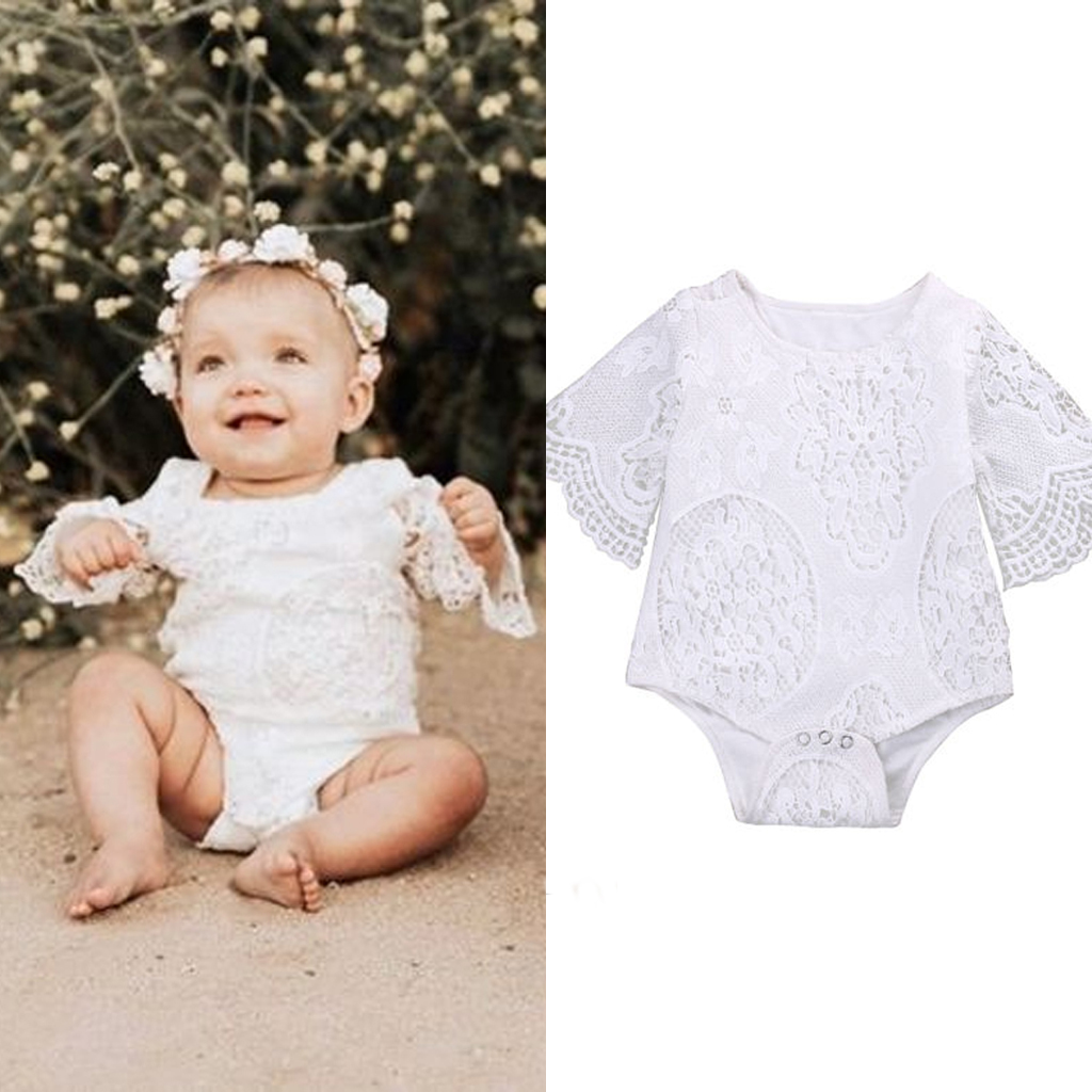a801b8d4128 Details about Toddler Kids Baby Girl White Lace Floral Romper Bodysuit  Jumpsuit Outfit Clothes