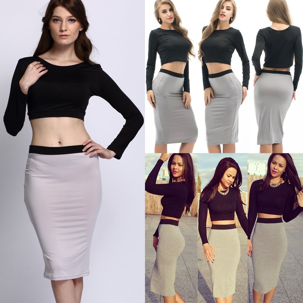 018f3c3fba1 Details about Women 2 Piece Bodycon Two Piece Crop Top and Skirt Set  Bandage Dress Party