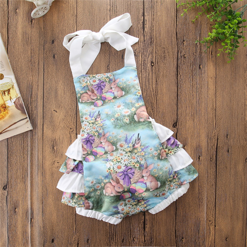 2a85855390a Details about USA Newborn Baby Girls Romper Bunny Ruffles Party Dress  Backless Sunsuit Easter