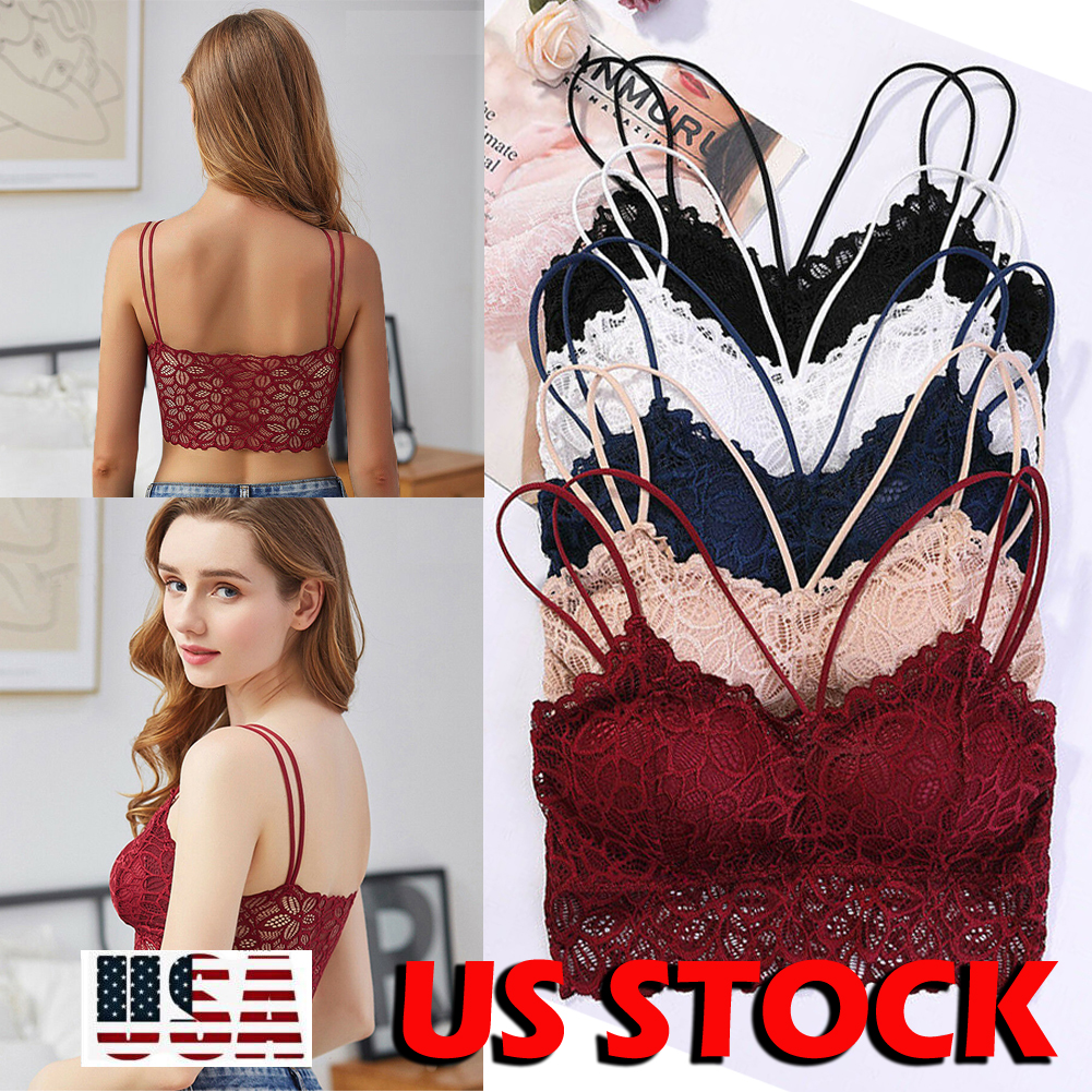 49eabccfc9a6b Details about Sexy Camisole Padded Tank Tops Women Fitness Underwear Floral  Lace Bralette Top