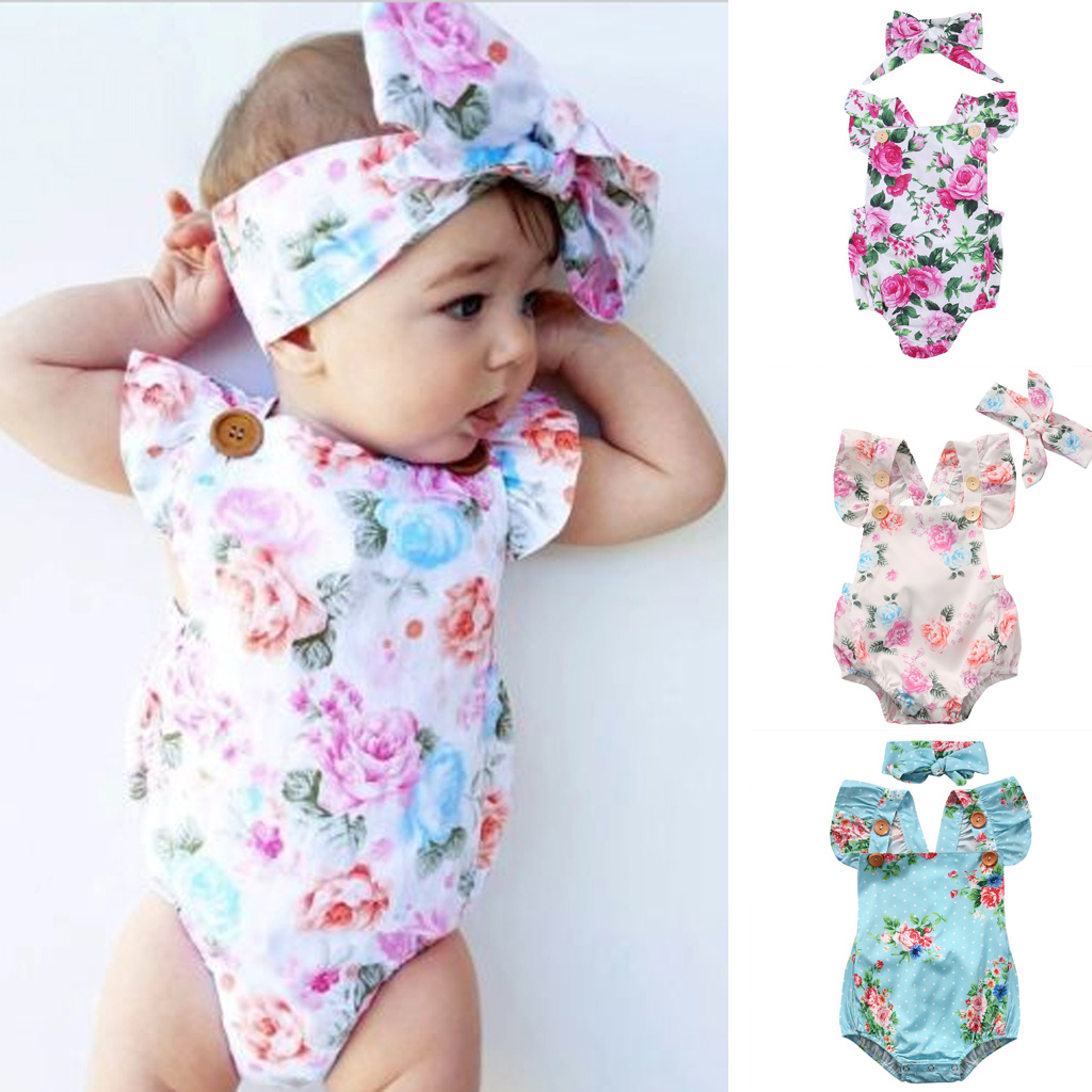 8deac75ae Details about Baby Girl Floral Romper Newborn Headband Infant Jumpsuit  Bodysuit Clothes Outfit