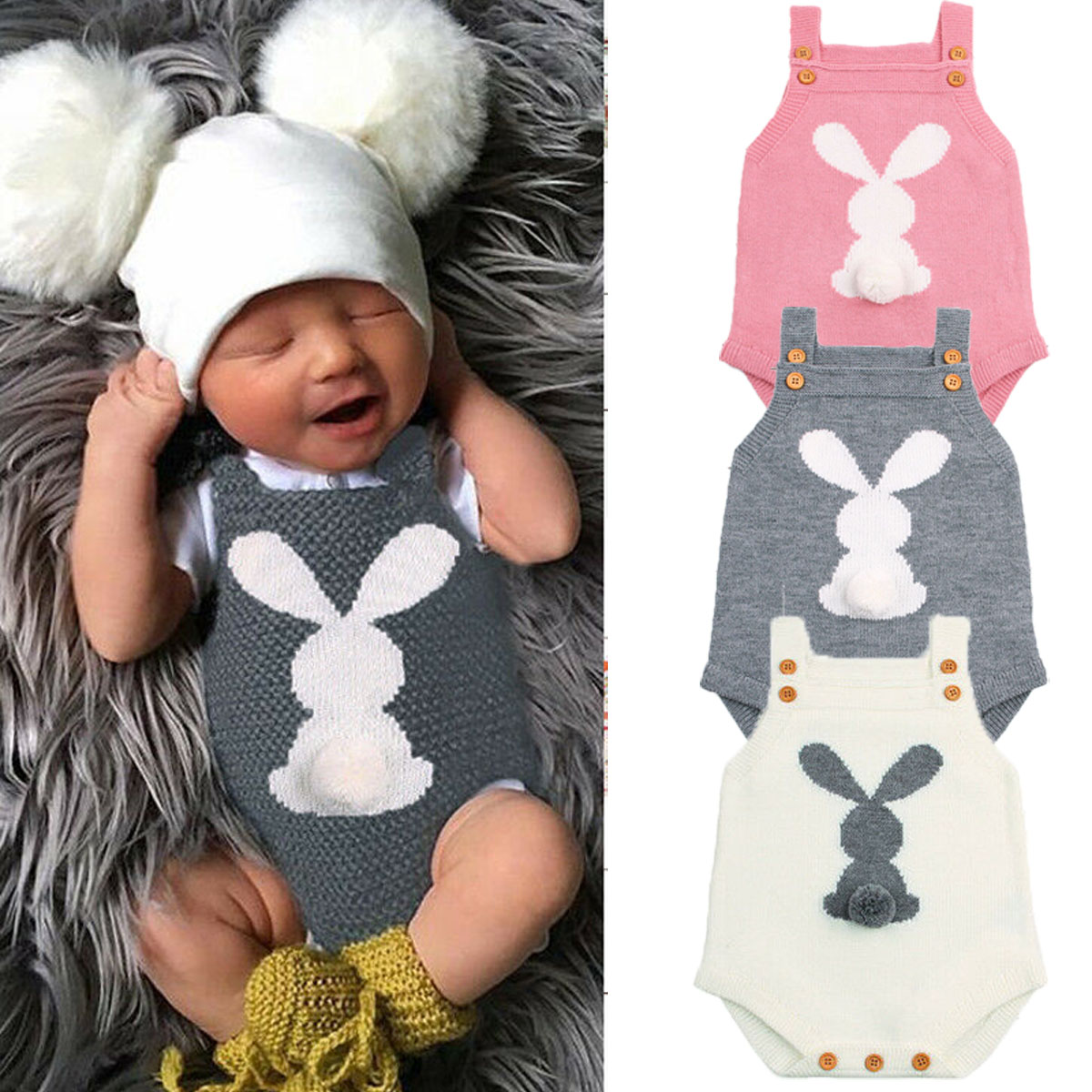 d713f203619d HOT Newborn Baby Boy Girls Bunny Knitting Wool Romper Bodysuit ...