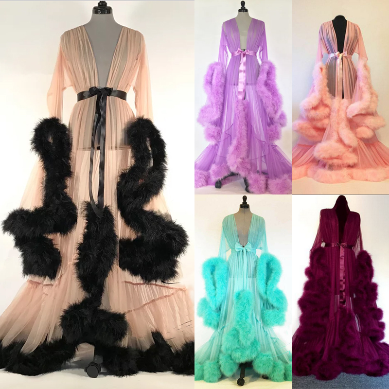 7c952c92dc Detalhes sobre Women Sexy Lace Fur Robe Lingerie Dress Gown Outfits Wedding  Party Sleepwear US