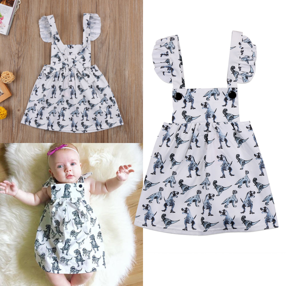 496b5eef21a7 Details about US Cute Summer Infant Baby Girl Sleeveless printing Dinosaur  Dress Clothes