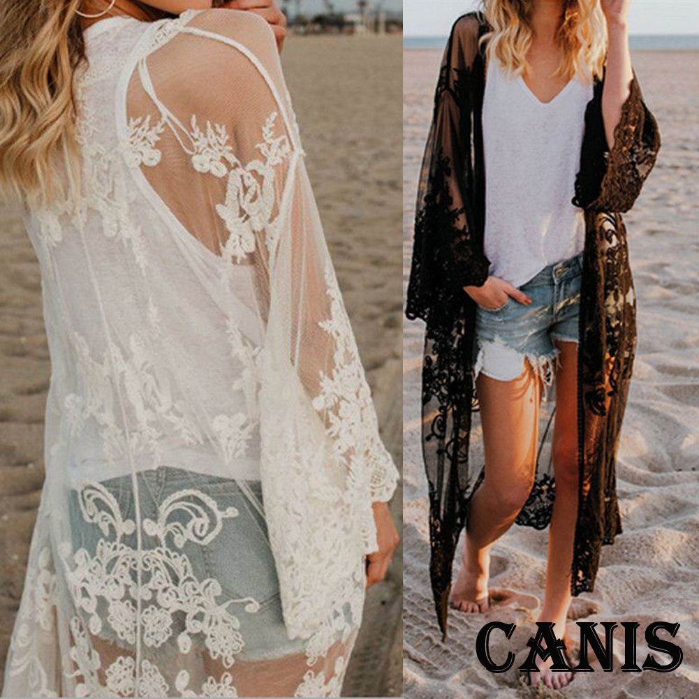 0266c63a9b0 Womens Embroidered Sheer Lace Kimono Short Sleeve Duster Cardigan ...
