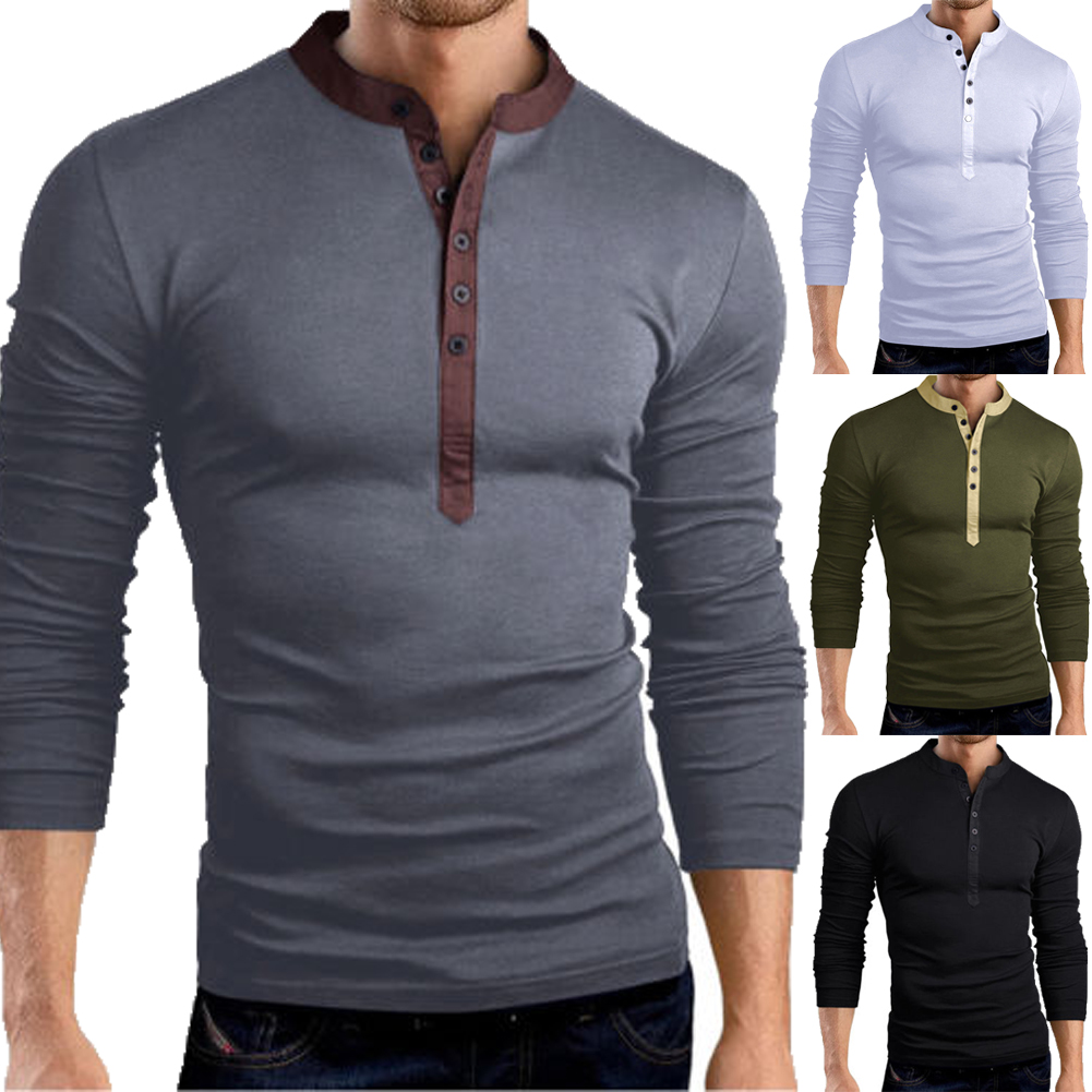 fb30bd5a Details about Mens Slim Fit V Neck Long Sleeve Muscle Tee T-shirt Casual  Tops Henley Shirts
