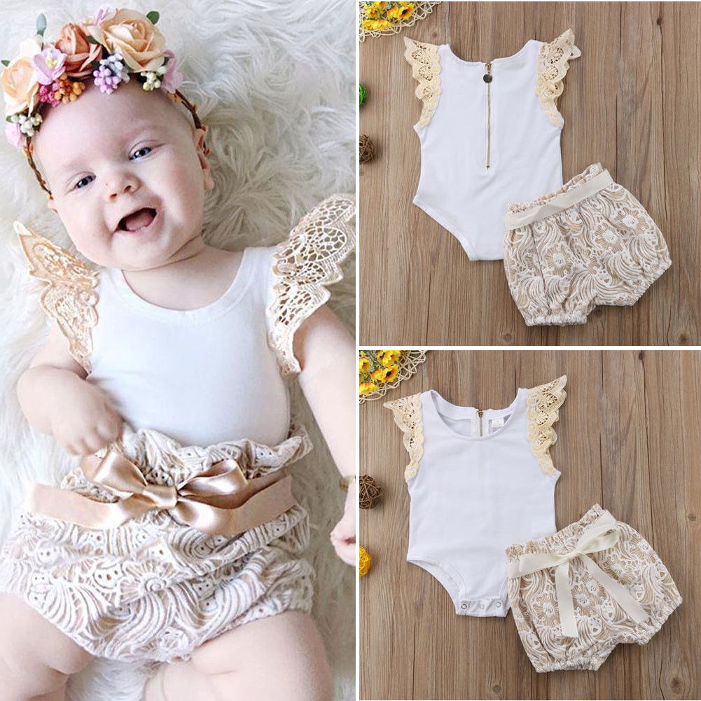 77c58060c Details about Newborn Baby Girl Romper Top+Shorts Pants Summer Kids 2PCS  Outfit Clothes Set