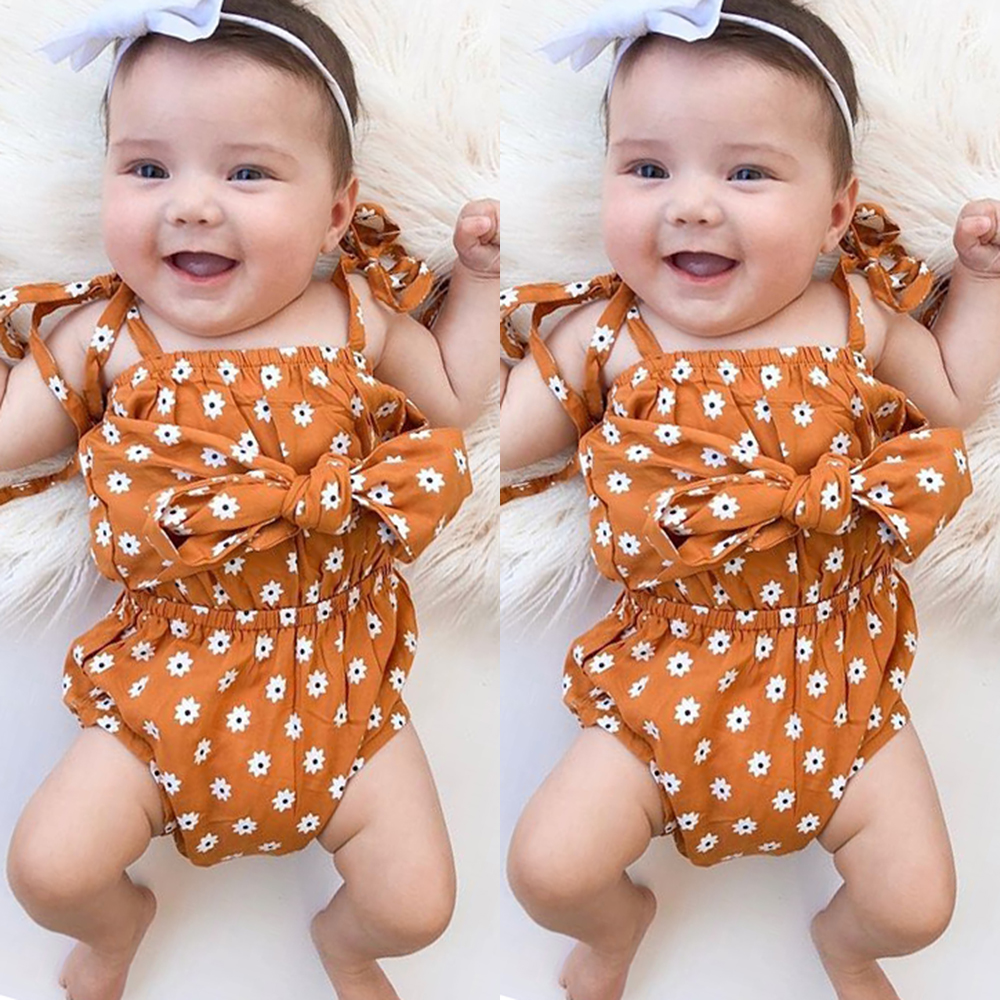 5214a0a6341c9 Details about US Floral Newborn Infant Baby Girl Bowknot Romper Jumpsuit  Outfit Clothes Summer