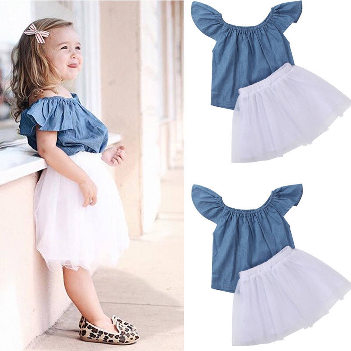 cbd40f0d8b00 Toddler Kids Baby Girls Short Sleeve T-shirt Top+Dress Skirt Outfits ...