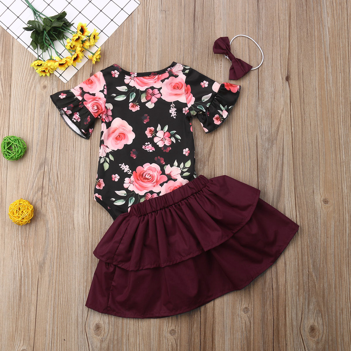 2545c026a0e1 Details about Princess Baby Girls Summer 3PCS Clothes Floral Romper Dress  Skirts Outfits 0-18M