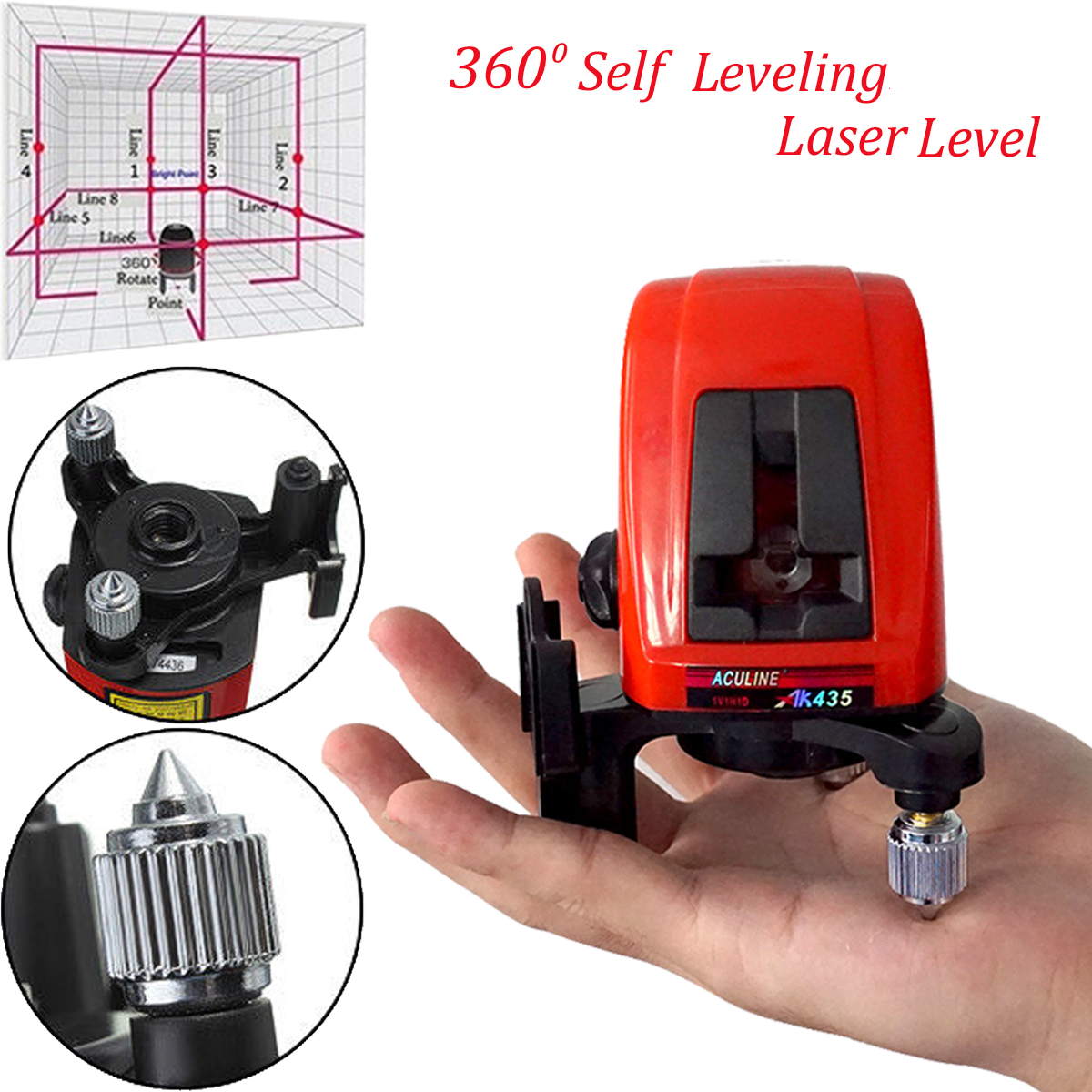 AK435 360 Degree Self-leveling Cross Laser Level Red 2 Line 1 Point With