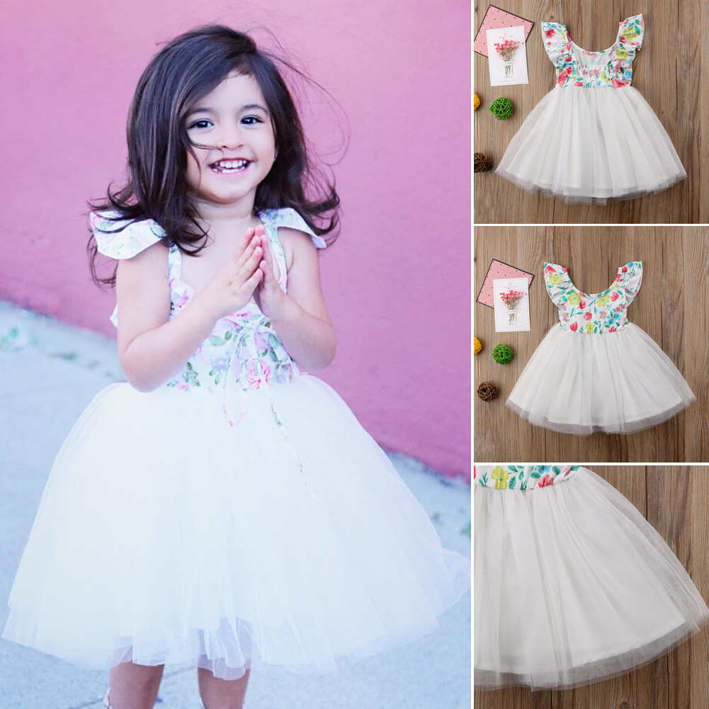 4ea39d828 Details about US Newborn Baby Girls Bridesmaid Dress Flower Kid Party Wedding  Dresses Princess