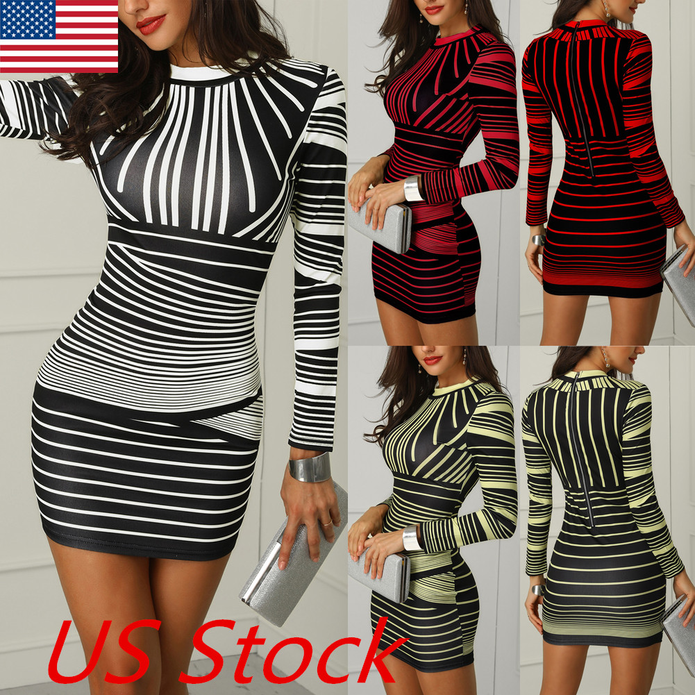 5e04b5e747 Sexy Womens Bodycon Long Sleeve Striped Evening Party Cocktail Club ...