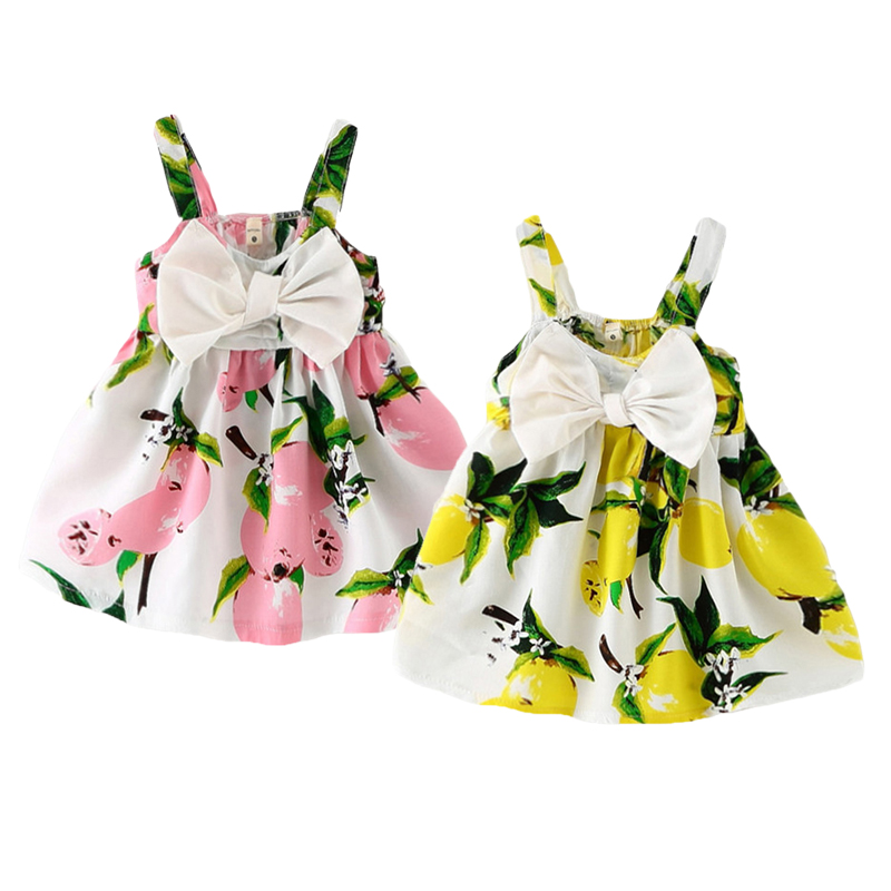 64dd4749e4 Infant Baby Girl s Summer Floral Dress Lemon Print Bowknot Sundress Clothes  0-3Y
