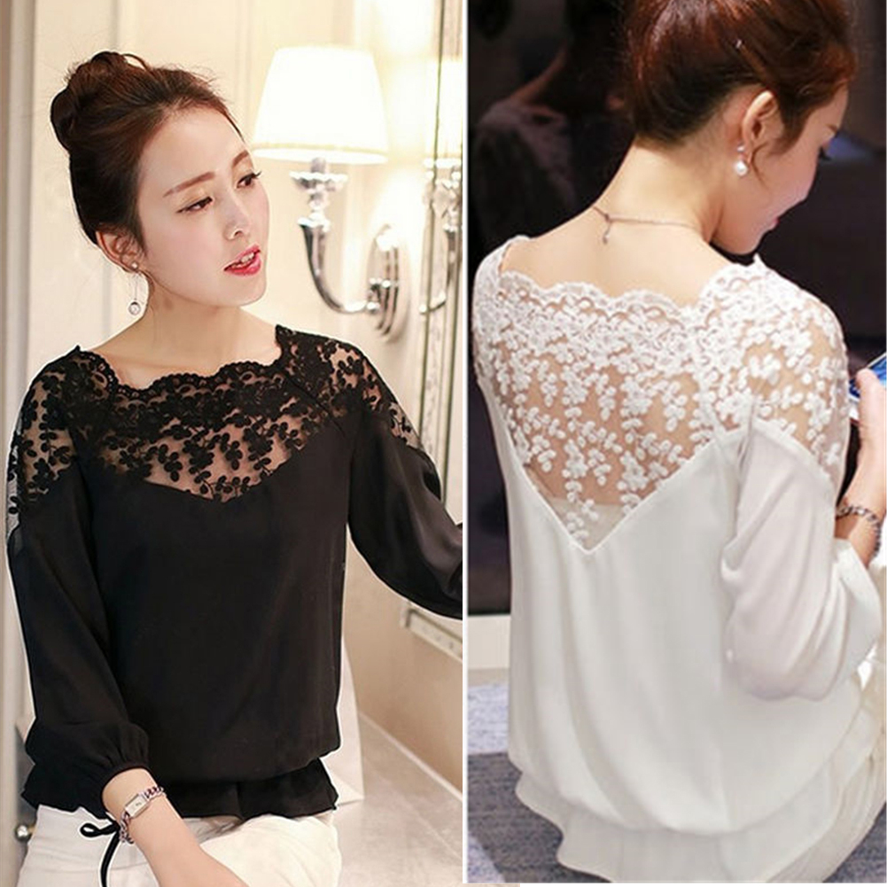 53a05b97 Women Sheer Long Sleeve Embroidery Floral Lace Crochet Tee T-Shirt ...