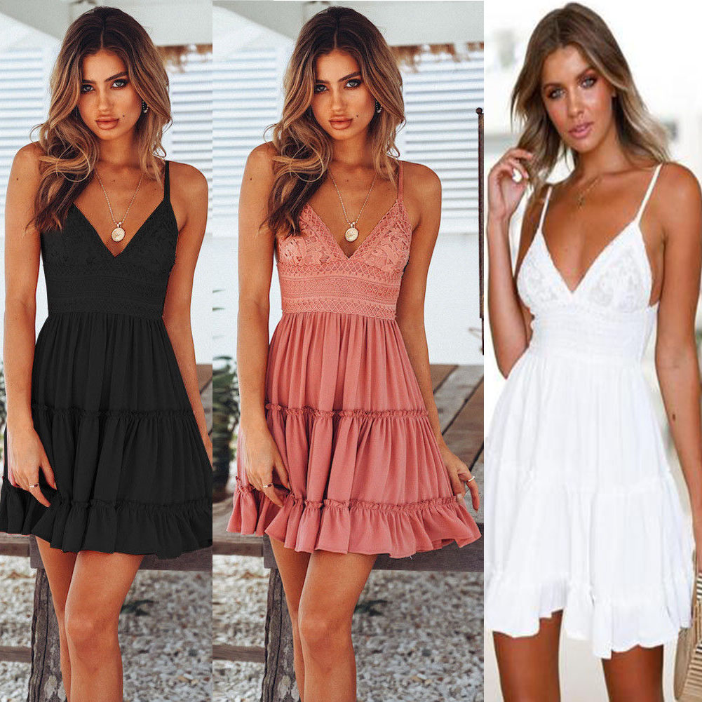 fba45077929a Details about Women Summer Backless Short White Evening Cocktail Party  Beach Dresses Sundress