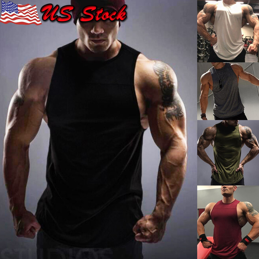 a3880f6d69e75 Details about Mens Bodybuilding Stringer Tank Top Y-Back Gym Workout Sports  Vest Shirt Clothes