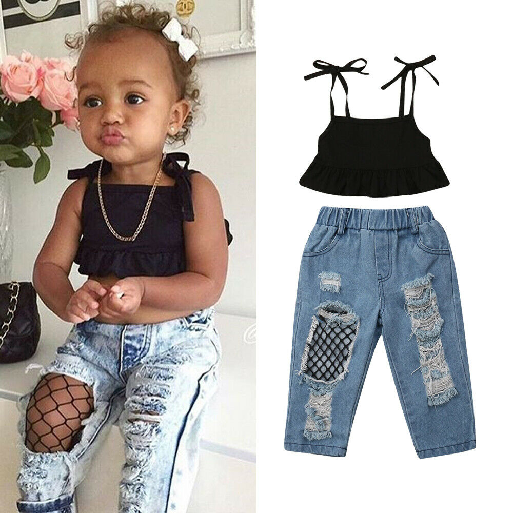 Details about US Toddler Kids Baby Girls Vest Top+Ripped Fish Net Jeans  Pants Trousers Outfits